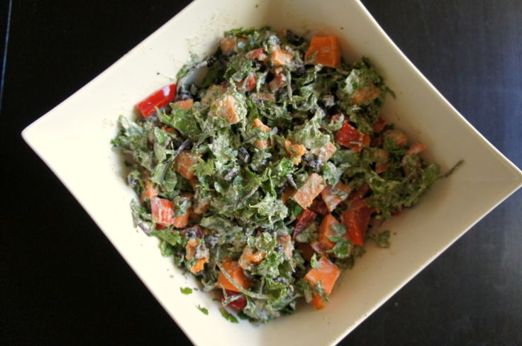 Creamy Kale Salad with Black Beans and Sweet Potato (recipe testing for Ricki Heller)