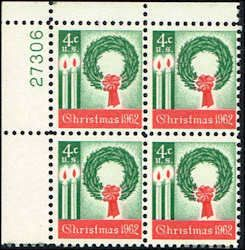 US #1205 Stamps for sale  4 cents Christmas 1962 Stamps MNH  Wreath and Candles  Plate Block of 4  UL 27306  US 1205-6 PB