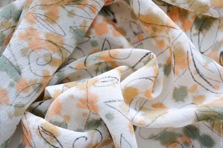 """Купить Платок """"Причуда"""", батик, шелк-креп, недорого - бежевый, кремовый, зеленый платок, оранжевый"""