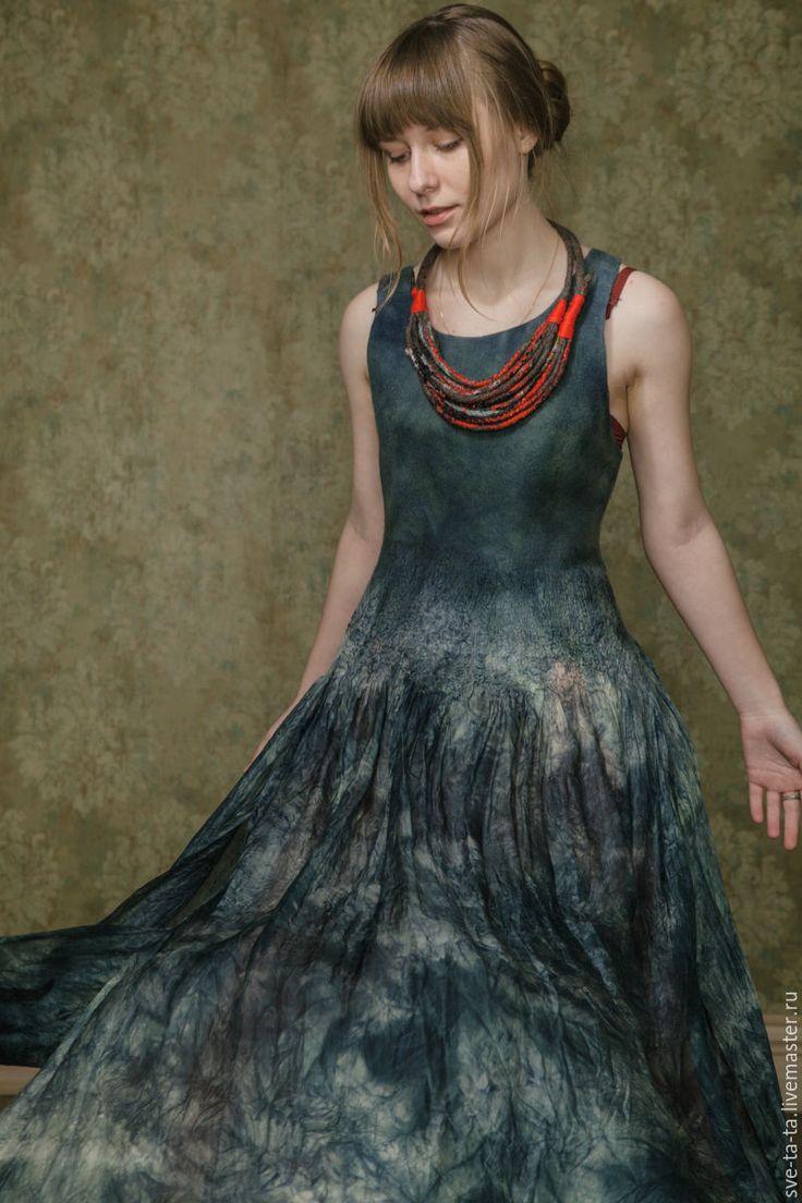 """Купить Платье """"Туман"""" (нуно-фельт) - авторский войлок, нуно-фельт, нуно-войлок…"""