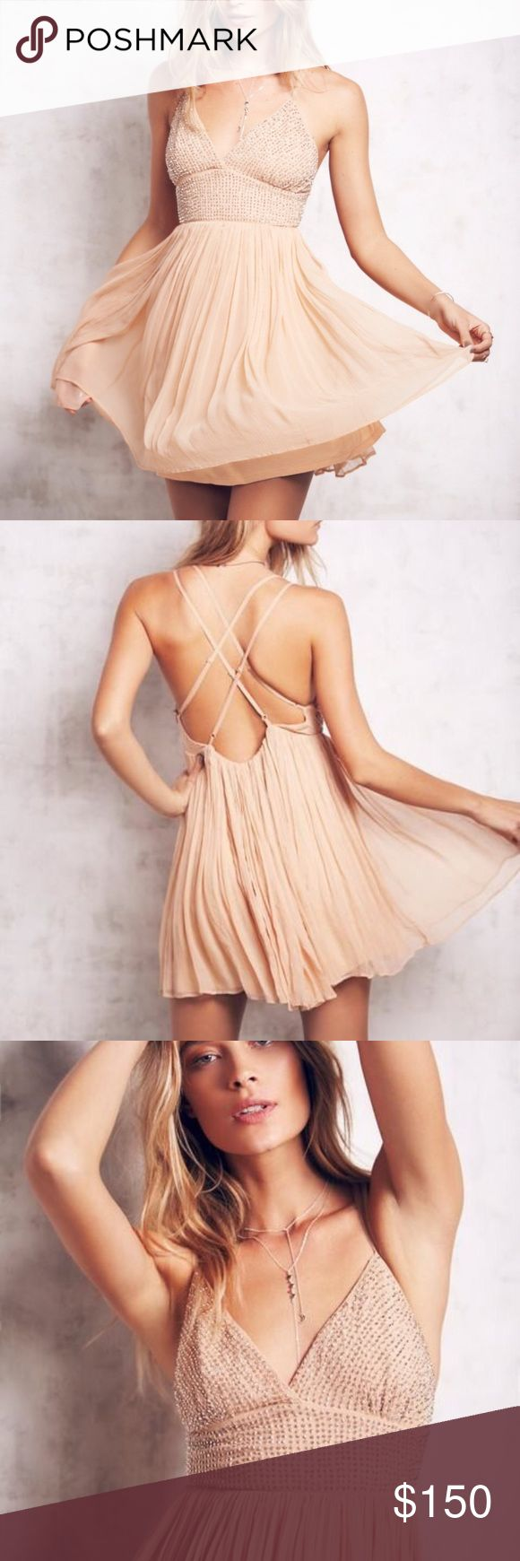 """""""Like A Diamond Dress"""" from Free People Pretty peach/ pinkish cream color with a silver beaded top. Great for parties and events like prom. In perfect condition. Wore one time only. No longer available on FP's website or in stores. Free People Dresses Mini"""