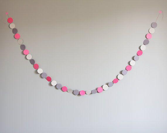 Guirlande décorative rose, gris et violet-gris - Longueur 2 m - Décoration de fête - Guirlande de Noël  La guirlande rose et gris est la petite