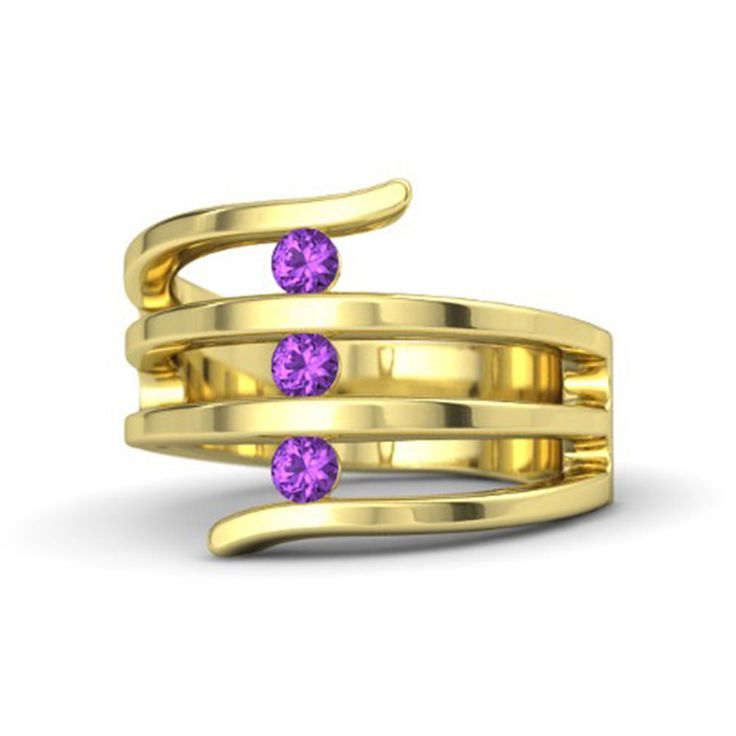 14K Yellow Gold Over .925 Sterling Silver Round Amethyst Three Stone Band Ring #eightyjewels #ThreeStone #AnySpecialDay