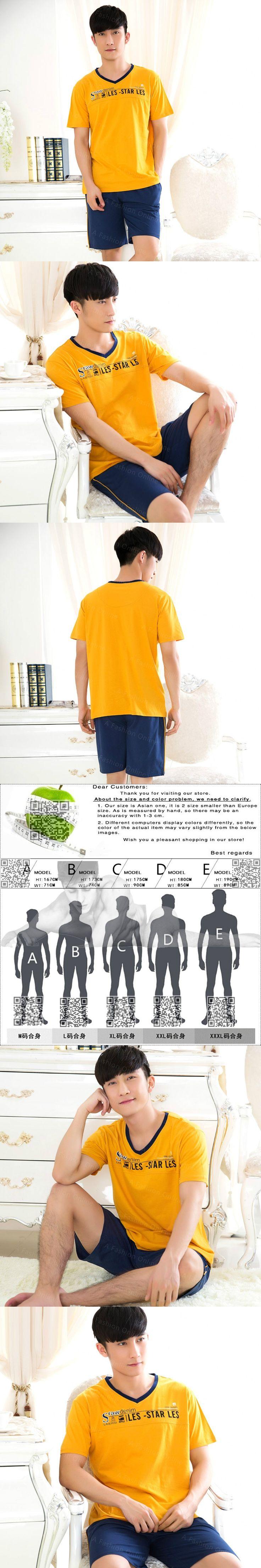 Men T Shirt Cotton Pajama Set Sleepwear Sexy Mens Underwear Tees Undershirts Tshirts Brand Casual Short Sleeve Navy Blue Shorts
