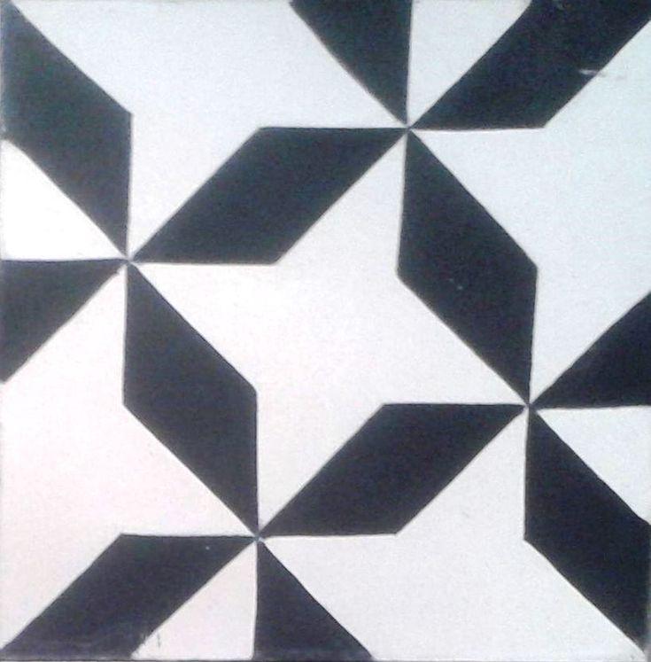 Cement tile #black  #white #monocolour #monocolor #tiles #tile #floor #azulejos #home #casa