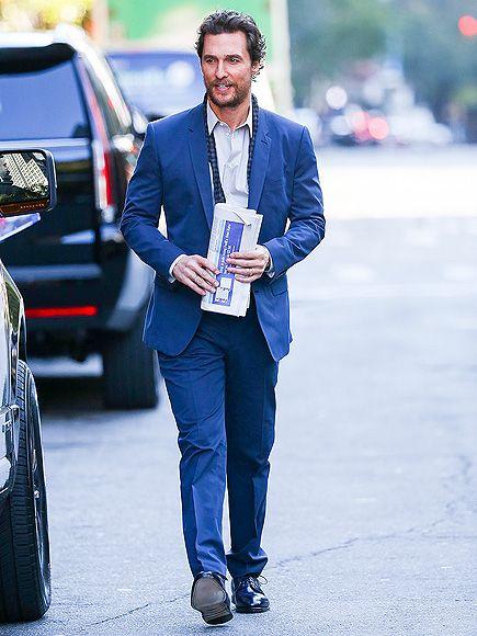 Matthew McConaughey looks sharp (regardless of the undone tie!) as he leaves his New York City hotel on Monday.
