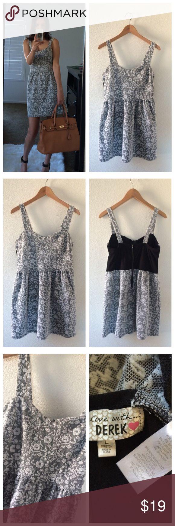 Weekend Sale🎉Derek gray white floral dress Derek gray white floral dress size L junior. Good used condition. derek Dresses Mini