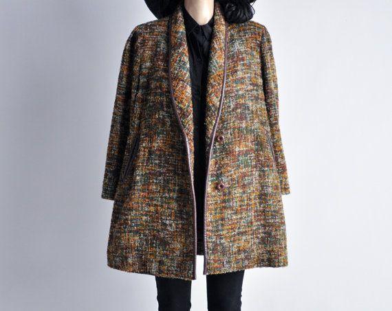 swann's way coat / vintage tweed coat / boucle jacket by persephonevintage