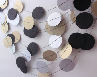 Wedding Garland Gold, Silver & Black Garland, Christmas Garland, Bridal Shower, Silver Wedding, Gold Christmas Decor, Gold Holiday Bunting
