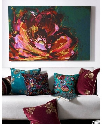 Peony Canvas Art - the artistic watercolor style of the flower gives the look of a handpainted canvas without the expense