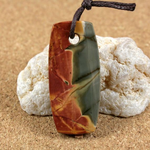 Red Creek Jasper Rounded Rectangle Pendant - Green Red and Yellow Large Hole Front Drilled Focal Bead