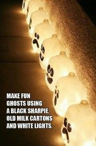 Make fun ghosts using empty milk gallon jugs and black sharpies!  Use light string or drop glow sticks in and fill with water!   Awesome cheap simple easy Halloween craft!  Could do them Nightmare Before Christmas style!