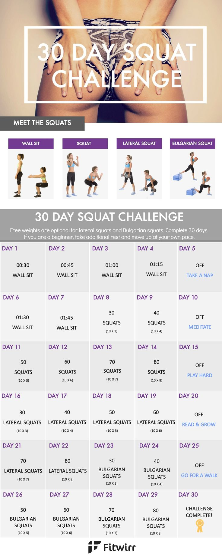 30 Day Squat Challenge. I like a challenge, I may do this ...