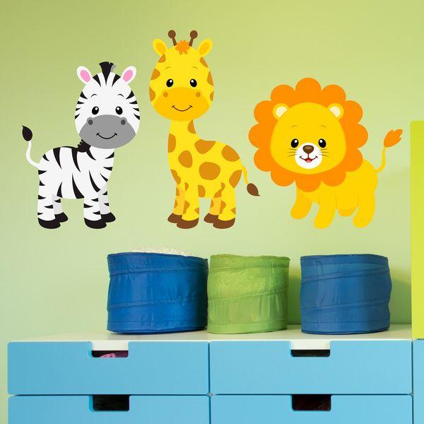 Adesivi per bambini: Safari cebra, giraffa e leone. Adesivi murali bambini a kit. #adesivimurali #decorazione #modelli #mosaico #animali #StickersMurali