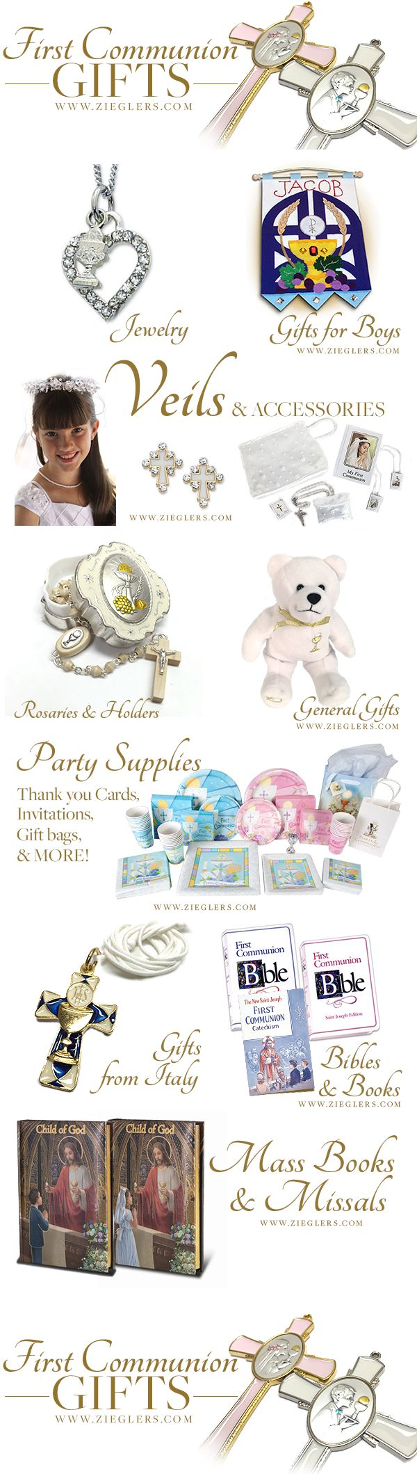 Plan on making their First Holy Communion something special? Browse a fine selection of First Communion Gifts and get some First Communion Ideas today! Everything from Veils, Jewelry, Party Supplies, Italian gifts, gifts for boys and so much more! See more at Zieglers.com #firstcommunion