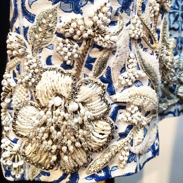 Grecian & Beaded: incredible crystal work on the Creatures of the Wind #SS15 runway #SwarovskiCollective #NYFW