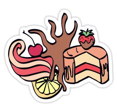 Cake with chocolate and cherry, cream swirl and lemon. Cartoon illustration. by kakapostudio
