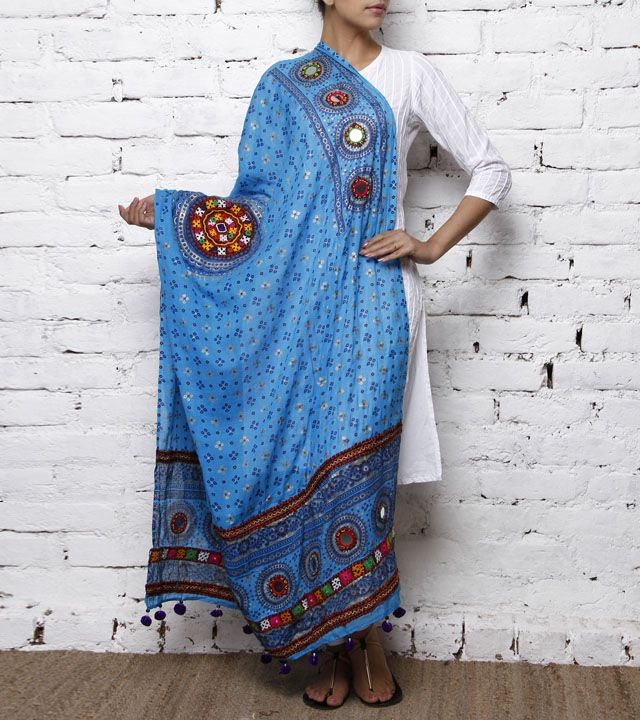 Blue Cotton Dupatta with Kutchi Embroidery