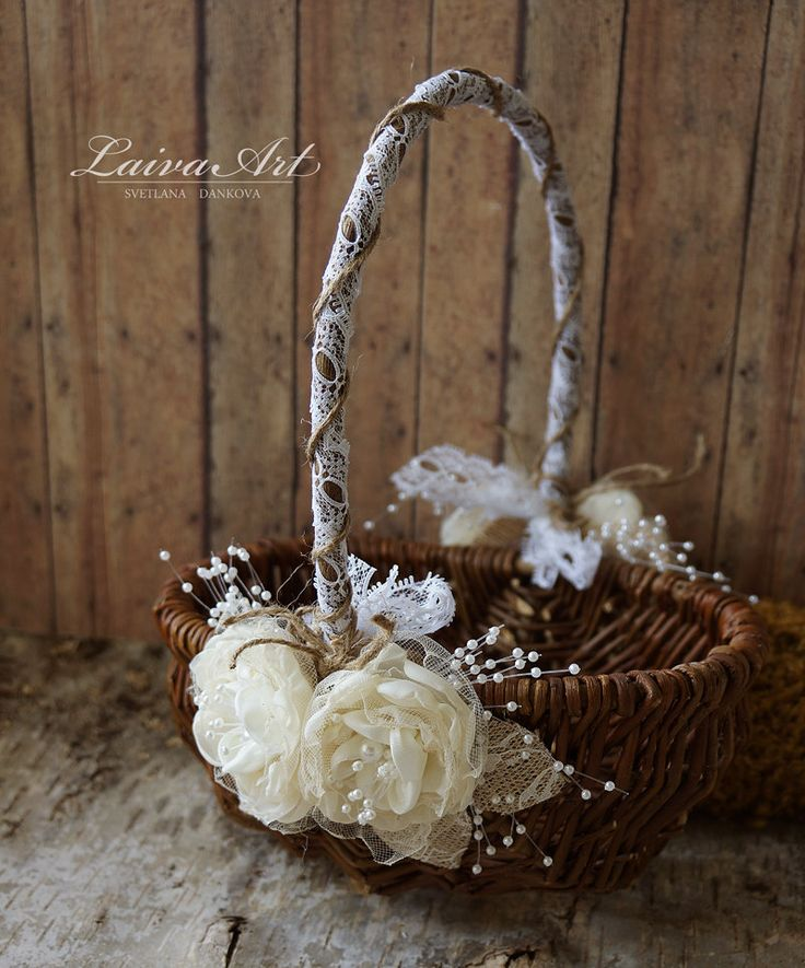 Rustic Flower Girl Basket Rustic Wedding Decoration - pinned by pin4etsy.com