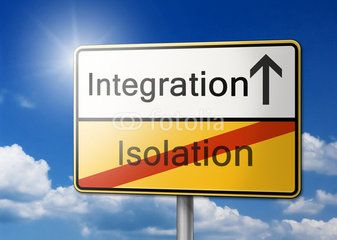 Integration Isolation Multikulti Schild Hintergrund
