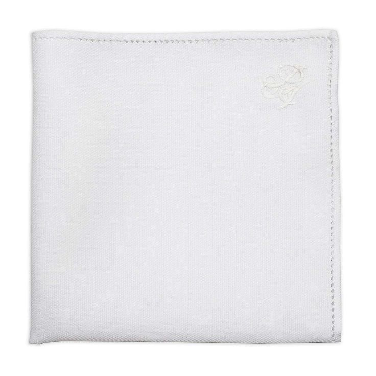 Personalized White Pique Cotton Pocket Square