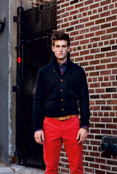 Preppy in red.