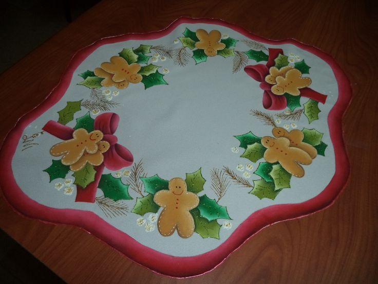 Centro de mesa pintado con pintura acr lica motivo - Centros de mesas navidenos ...
