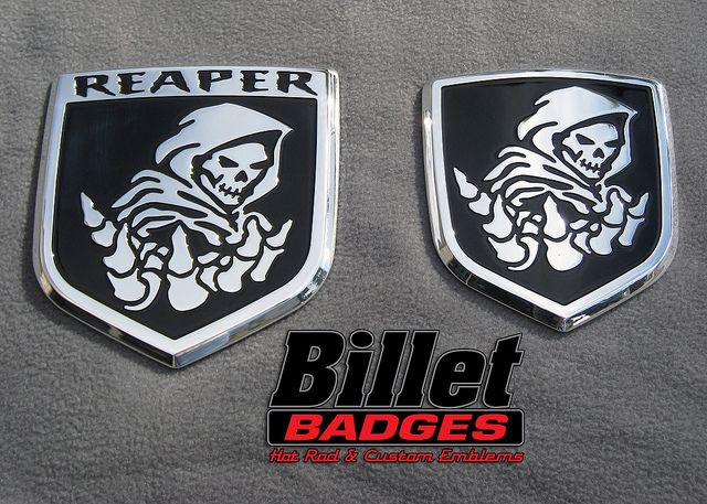 """Our amazing """"REAPER"""" design! These are polished with black paint filled background. For more info visit www.billetbadges.com. #billetbadges #Dodge #truck #reaper #emblem #custom #madeinusa"""