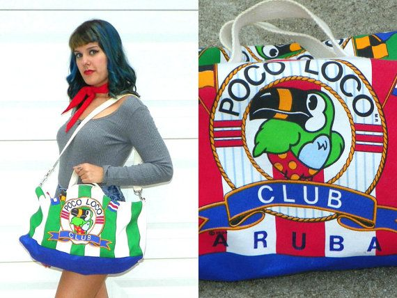 Vintage Poco Loco Club Striped Aruba Canvas Gym by Enchantedfuture