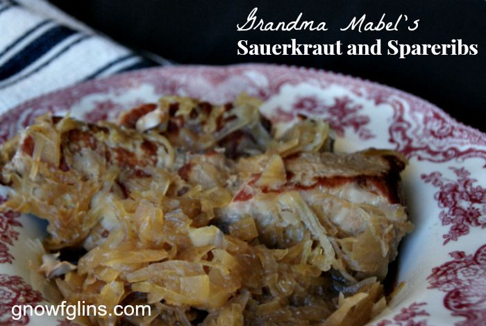 """""""The moment we walked through Grandma Mabel's front door for our two week visit, the aroma of her sauerkraut and spareribs welcomed us.She would begin preparing it early in the day, layering the ribs and the homemade kraut in the same vintage Dutch oven. I'm sharing the exact way Grandma prepared this dish, as well as an alternative to help you preserve the probiotics in your sauerkraut."""" GNOWFGLINS.com"""