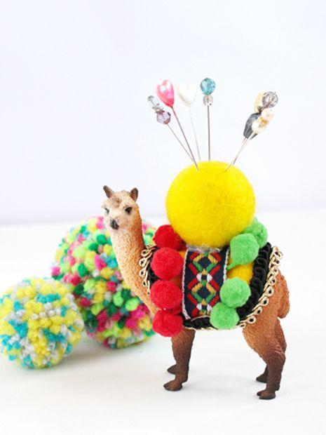 Craft Tutorial; Plastic Animal Pin Cushion: Plastic Animal, Diy'S, Pin Cushions, Pompom, Plastic Toys, Crafts Idea, Crafts Tutorials, Animal Pin, Pom Pom
