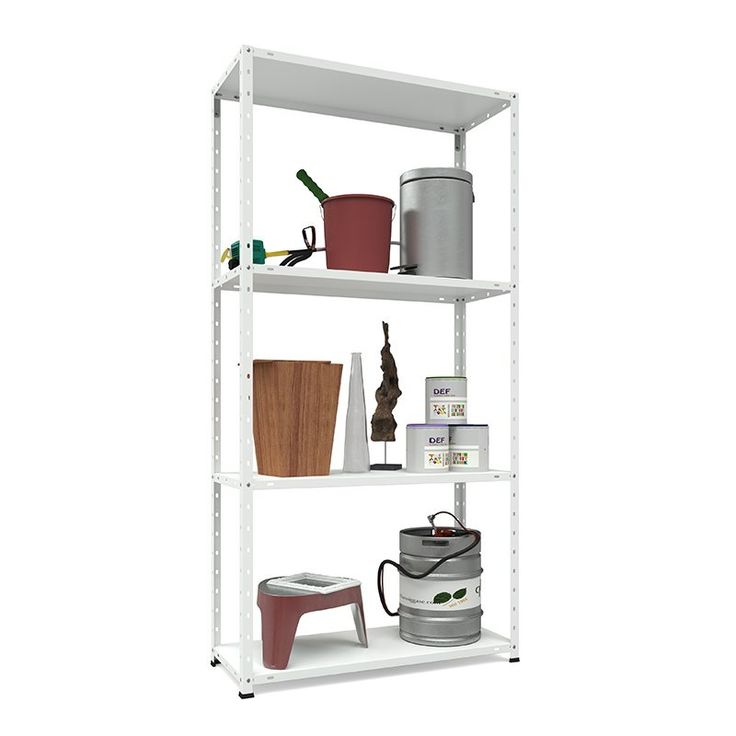 En praktisk förvaringshylla i vit galvaniserad metall med fyra hyllplan. Perfekt anpassad till förvaring i garaget, förrådet eller på kontoret.