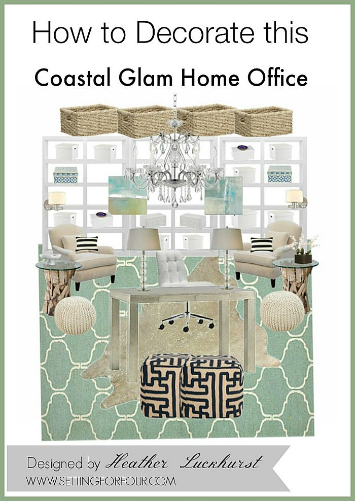 See these Inspiring DIY Decor Tips and Mood Board Design: How to Decorate a Coastal Glam Home Office with beachy casual elegance! www.settingforfour.com