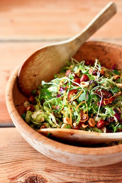 Brussel Sprout Salad ....with dates and toasted hazelnuts. Crunchy and delicious, this healthy salad is vegan and gluten free!