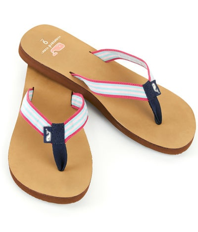 Grosgrain Leather Flip Flops