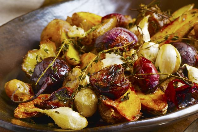 Roasted Potatoes and Beets with Garlic and Thyme