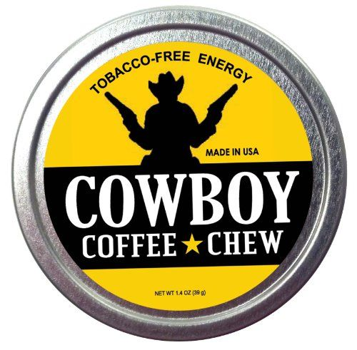 Cowboy Coffee Chew (Pack of 12) Quit Chewing Tin Can Non Tobacco Nicotine Free Smokeless Alternative to Dip Snuff Snus Leaf Pouch Curbs Appetite Suppresses Hunger Nicotine Free Long Lasting Pack and Flavor. 100% Edible Coffee Honey Sugar and Cream Fresh Ground Coffee Great Taste. Caffeine Fat Burning Energy. Every Tin Equals 2 to 3 Cups of Coffee.  #ChewCoffeeDip #Grocery