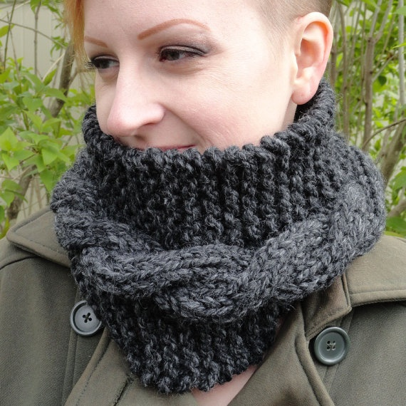 Hand Knit Charcoal Lambswool and Acrylic Blend Unisex Cowl by ReasonablyRustic, $25.00