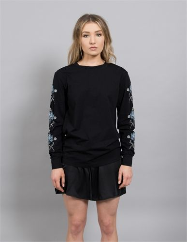 LONELY RTW LS FLORAL EMBROIDERY BLACK-long sleeve tees-AREA 51