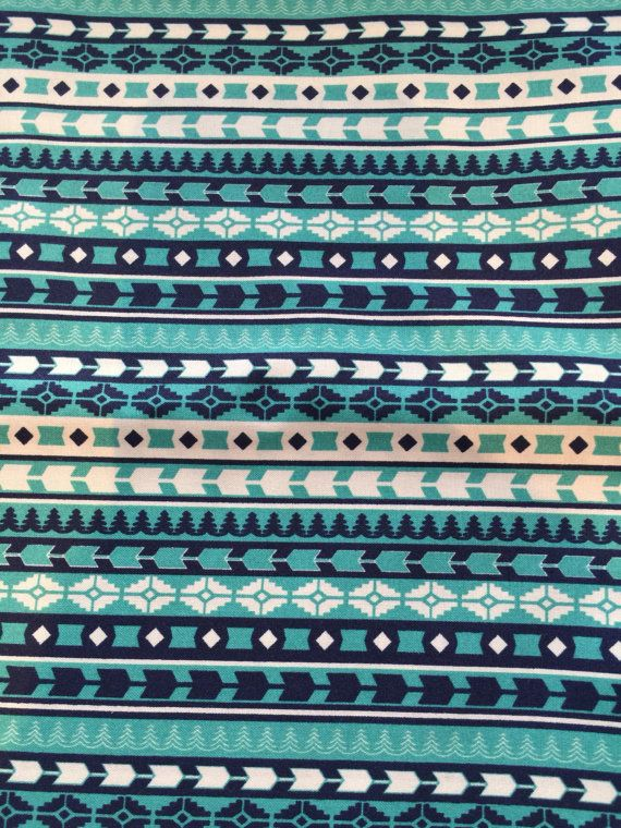 Tela Azteca Boho verde Marina--acolchado tela Tribal Teal nativo