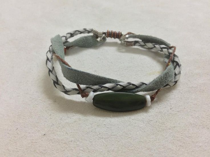 Braided hide bracelet with stone