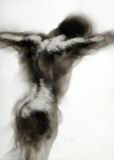 Untitled (torso) by Canadian artist Steven Spazuk. Soot art. via Trendland
