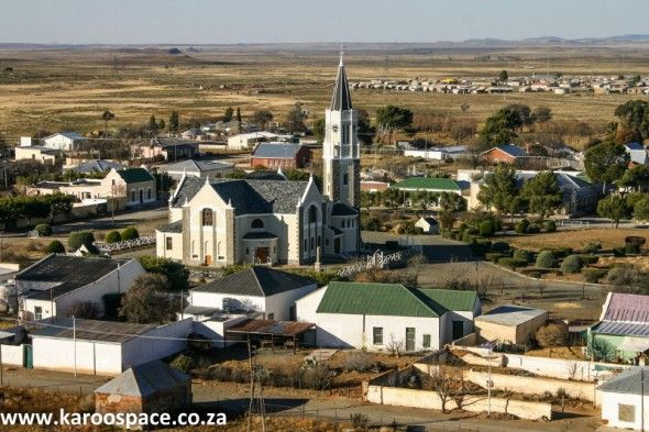 Hanover village in the Northern Cape Karoo, with its imposing Mother Church.