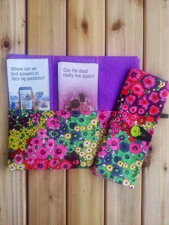 Colorful blooms field service tract holder by SeedsofTruth on Etsy