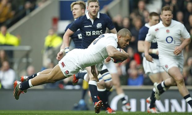 Jonathan Joseph scores for England against Scotland in the 2015 Six Nations clash at Twickenham
