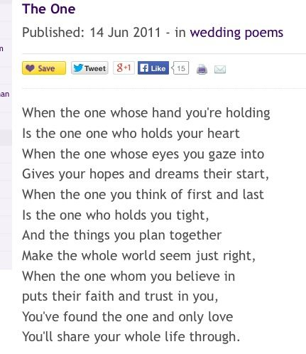 The One Wedding Poem