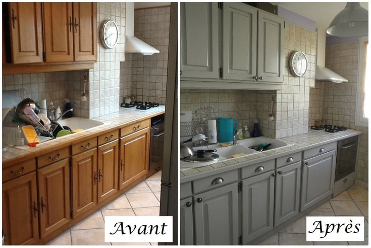 Cuisine en ch ne relook e gris clair patine style authentique et intemporel - Renovation meuble en chene ...