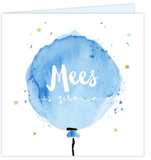 Hip vierkant geboortekaartje voor een jongen met watercolor effect! Uniek babykaartje met waterverf look, snippers en stippen met het hippe handlettering. Geheel zelf aan te passen.
