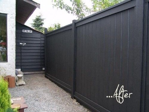 Black stained fence - ben moore stain