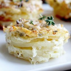 Parmesan Scalloped Potato Stacks with Parmesan, Garlic, and Thyme